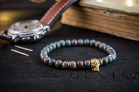 Alexandros - 6mm - Blue Crazy Lace Agate Beaded Stretchy Bracelet with Gold Skull
