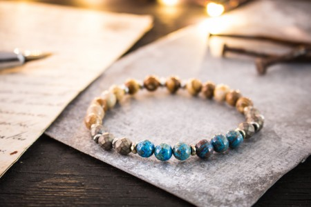 Andrew - 6mm - Blue Crazy Lace Agate, Jasper Stone And Bronze Hematite Beaded Stretchy Bracelet