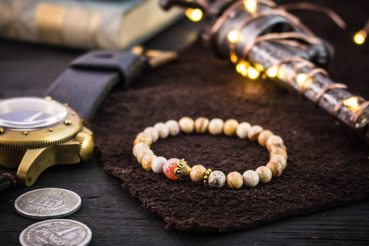 Airith - 6mm - Brown Jasper Stone Beaded Stretchy Bracelet with Gold Beads and Crackle Orange Agate