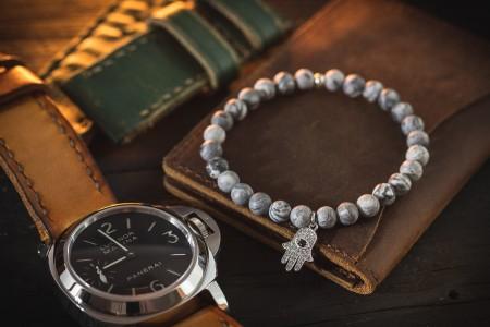 Karson - 6mm - Light Gray Picasso Stone Beaded Stretchy Bracelet with Silver Hand Of Hamsa