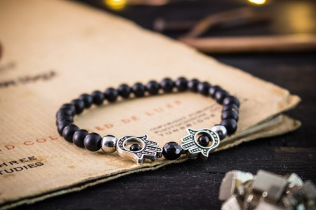 Andhuvan - 6mm - Matte Black Onyx Beaded Stretchy Bracelet with Silver Hamsa Hands