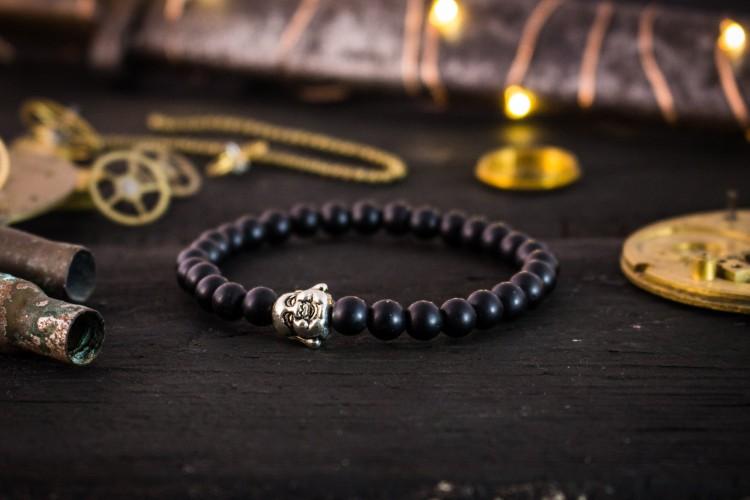 Callen - 6mm - Matte Black Onyx Beaded Bracelet with Silver Buddha from STRAPSANDBRACELETS