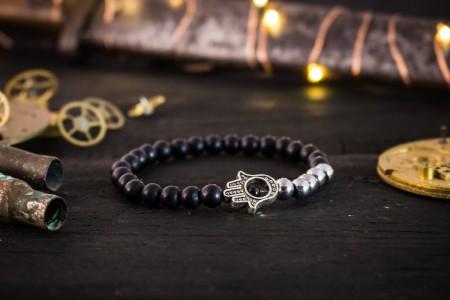 Perran - 6mm - Matte Black Onyx Beaded Stretchy Bracelet with Silver Hamsa Hand
