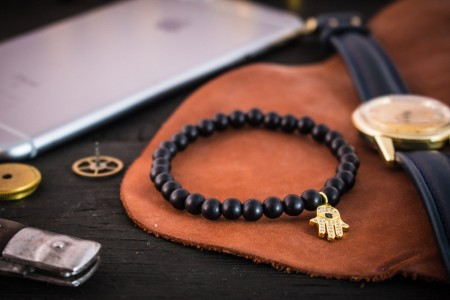 Ivo - 6mm - Matte Black Onyx Beaded Stretchy Bracelet with Gold Micro Pave Hamsa Hand Charm