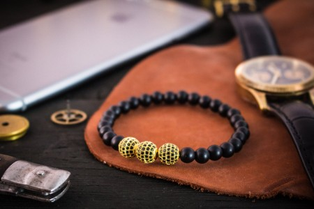 Codey - 6mm - Matte Black Onyx Beaded Stretchy Bracelet with Gold Micro Pave Balls Charm