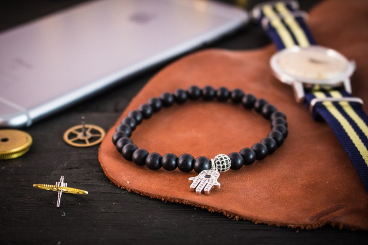 Saxton - 6mm - Matte Black Onyx Beaded Stretchy Bracelet with Silver Micro Pave Hamsa Hand Charm & Ball