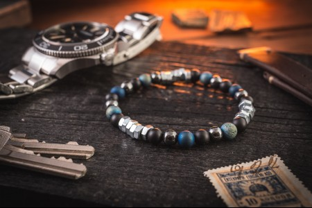 Adley - 6mm - Matte Black Onyx & Blue Agate Beaded Mens Stretchy Bracelet with Hematite And Hexagon Nuts