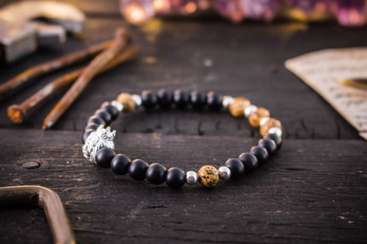 Karim - 6mm - Matte Black Onyx & Jasper Stone Beaded Stretchy Bracelet with Sterling Silver Lion And Beads