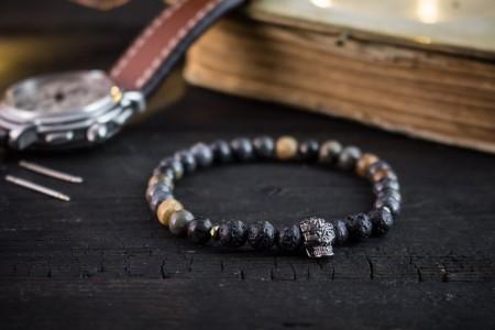 Siddarth - 6mm - Picasso Stone & Black Lava Stone Beaded Stretchy Bracelet with Gunmetal Skull