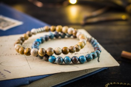 Alaistair - 6mm - Set Of 2 - Blue Crazy Lace Agate & Brown Jasper Stone Beaded Stretchy Bracelets