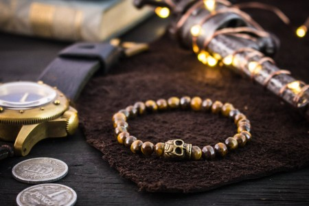 Marcos - 6mm - Tiger Eye Beaded Stretchy Bracelet with Bronze Skull