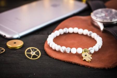 Cye - 6mm - White Howlite Beaded Stretchy Bracelet with Gold Micro Pave Hamsa Hand Charm & Ball