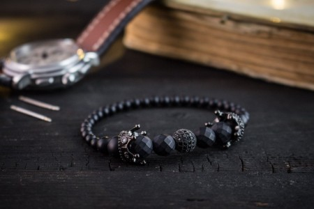 Black Kingdom - 4-8mm - Matte Black Onyx & Lava Stone Beaded Stretchy Bracelet with Black Micro Pave Crowns