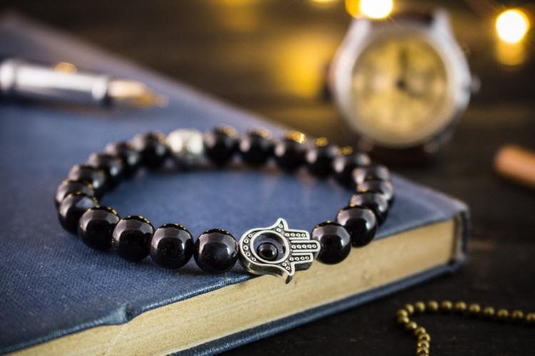 Kacper - 8mm - Black Onyx Beaded Stretchy Bracelet with Silver Hamsa Hand from STRAPSANDBRACELETS