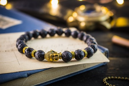 Cathal - 8mm - Black Lava Stone Beaded Stretchy Bracelet with Gold Buddha Head