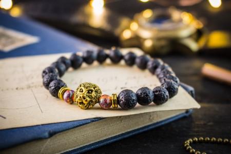 Murphy - 8mm - Black Lava Stone Beaded Stretchy Bracelet with Gold Lion