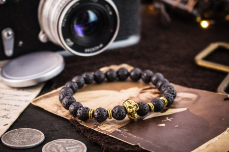 Aonghus - 8mm - Black Lava Stone Beaded Stretchy Bracelet with Gold Skull