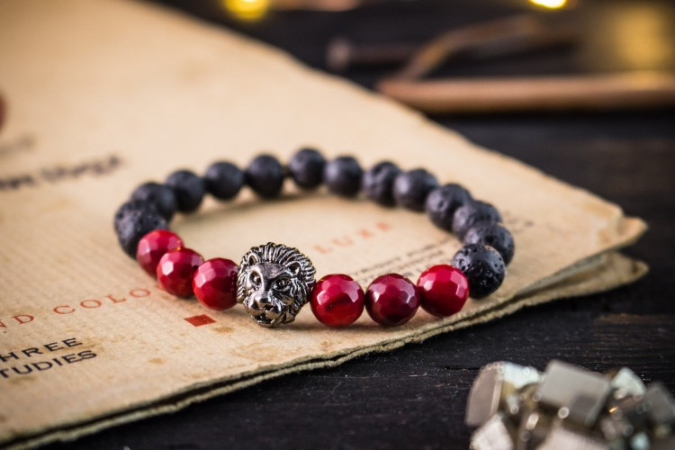 Brooklyn - 8mm - Black Lava Stone Beaded  Stretchy Bracelet With Gun Black Lion & Faceted Red Coral Beads