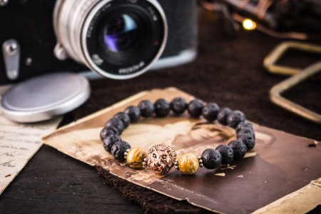 Blaine - 8mm - Black Lava Stone Beaded Rose Gold Lion Stretchy Bracelet with Jasper Stone Beads and Silver Flowers