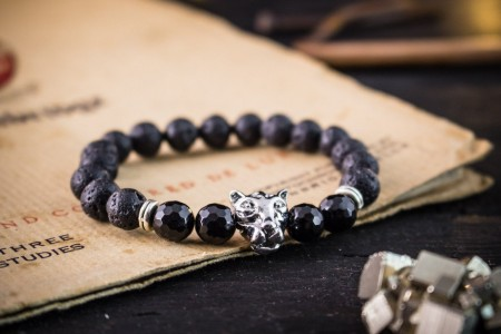 Loui - 8mm - Black Lava Stone Beaded Stretchy Bracelet With Silver Leopard