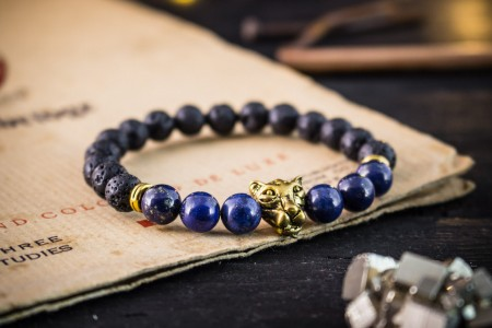 Azeem - 8mm - Black Lava Stone & Lapis Lazuli Beaded Stretchy Bracelet with Gold Leopard