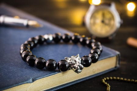 Branimir - 8mm - Black Onyx Beaded Stretchy Bracelet with Silver Leopard