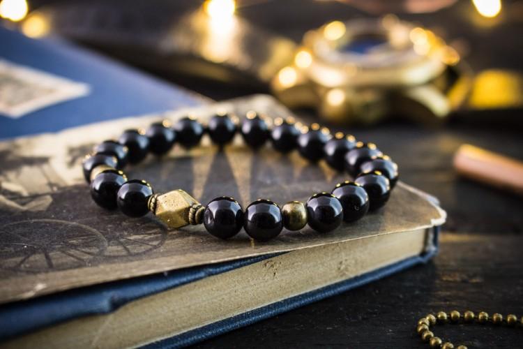 Prentice - 8mm - Black Onyx Beaded Stretchy Bracelet with Bronze Beads