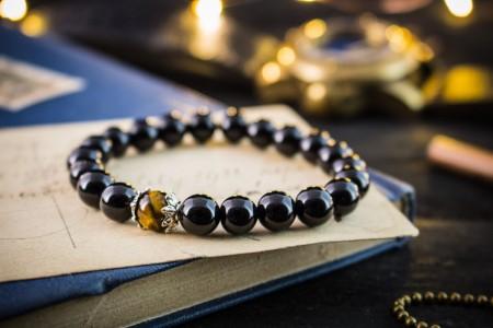 Tobias - 8mm - Black Onyx Beaded Stretchy Bracelet with Tiger Eye Bead