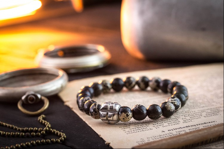 Miro - 8mm - Black Regalite Beaded Stretchy Bracelet With Stainless Steel End Bead from STRAPSANDBRACELETS