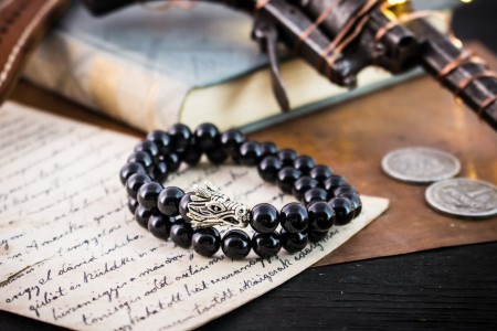 Ashmith - 8mm - Double Wrap Black Onyx Beaded Stretchy Bracelet with Silver Dragon Head