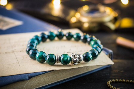 Lorcan - 8mm - Greenish Chrysocolla Beaded Stretchy Bracelet with Silver Laughing Buddha