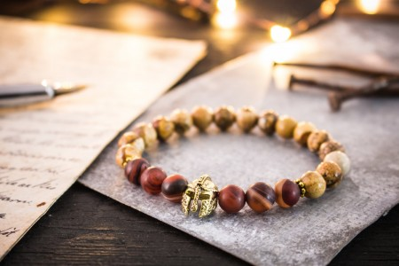 Alston - 8mm - Jasper Stone Beaded Stretchy Bracelet With Golden Spartan Helmet and Dream Agate