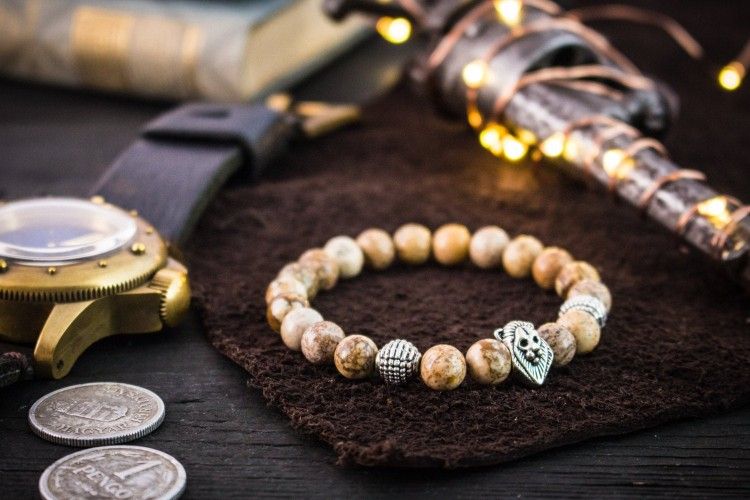 Aydin - 8mm - Jasper Stone Beaded Stretchy Bracelet with Silver Lion Head