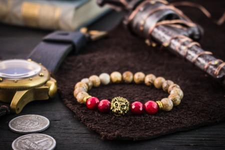 Oliwier - 8mm - Jasper Stone Beaded Stretchy Bracelet with Gold Lion Head & Faceted Red Imitation Coral Beads