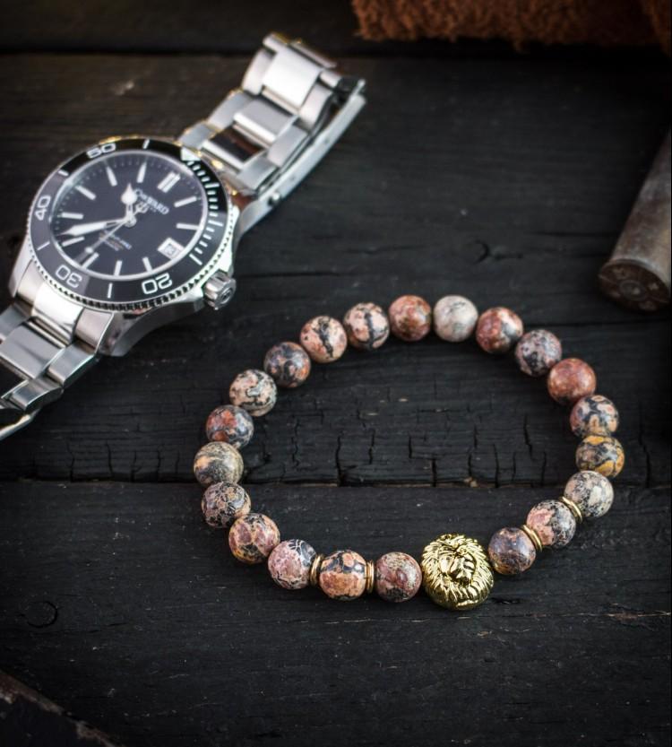 Pierce - 8mm - Leopard Skin Beaded Stretchy Bracelet with Gold Lion from STRAPSANDBRACELETS