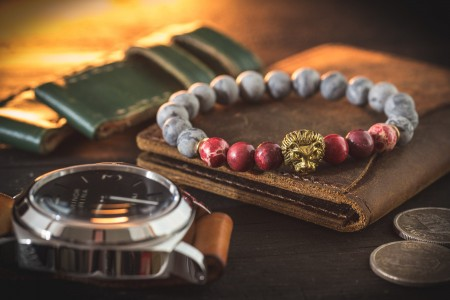 Cambell - 8mm -  Light Gray Picasso Stone Beaded Stretchy Bracelet with Gold Lion & Red Regalite Beads