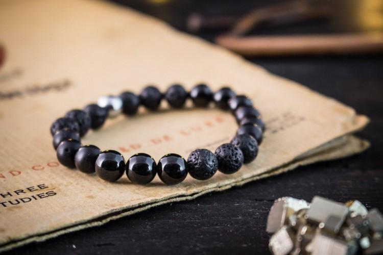 Kylen - 8mm - Matte Black And Shiny Onyx & Lava Stone Beaded Stretchy Bracelet
