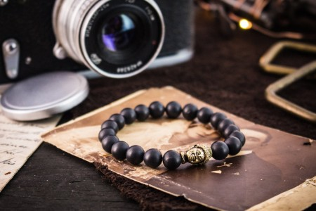 Connovar - 8mm - Matte Black Beaded Stretchy Bracelet with Gold Buddha