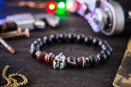 Adlai - 8mm - Matte Black Onyx Beaded Stretchy Bracelet with Spartan Helmet & Dream Agate