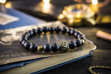 Alby - 8mm - Matte Black Onyx Beaded Stretchy Bracelet with Bronze Buddha