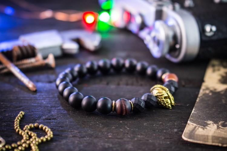 Jacus - 8mm - Matte Black Onyx & Dream Agate Beaded Stretchy Bracelet with Gold Spartan Helmet