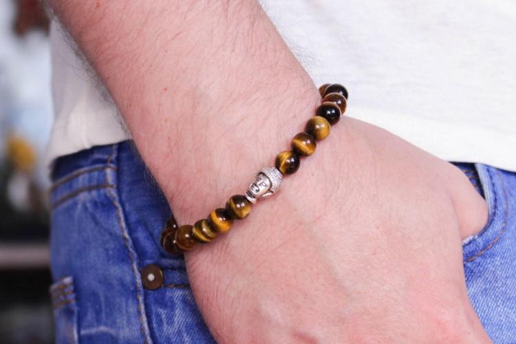 Bran - 8mm - Tiger Eye Beaded Stretchy Bracelet with Silver Buddha