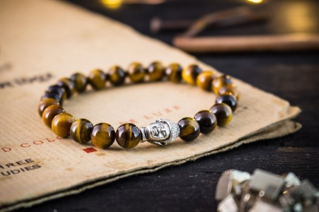 Bran - 8mm - Tiger Eye Beaded Stretchy Bracelet with Silver Buddha