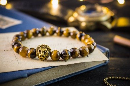 Atiba - 8mm - Tiger Eye Beaded Stretchy Bracelet with Gold Lion