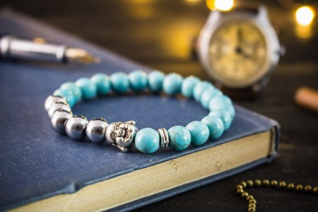 Cayrn - 8mm - Turquoise  And Silver Plated Hematite Beaded Stretchy Bracelet With Silver Laughing Buddha