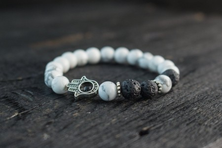 Cain - 8mm - White Howlite And Lava Stone Beaded Stretchy Bracelet with Silver Hamsa Hand