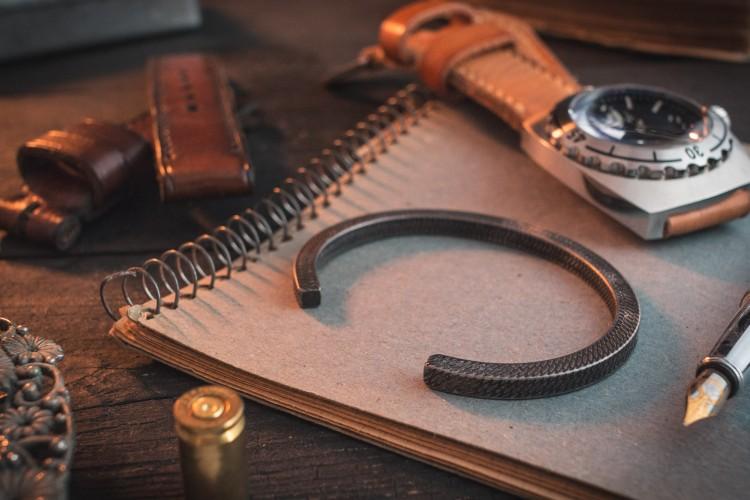 Leidheim - Antiqued Stainless Steel Cuff Bangle Men's Bracelet from STRAPSANDBRACELETS