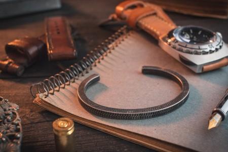 Leidheim - Antiqued Stainless Steel Cuff Bangle Men's Bracelet