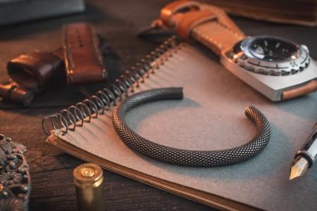 Gwegird - Antiqued Textured Stainless Steel Cuff Bangle Men's Bracelet