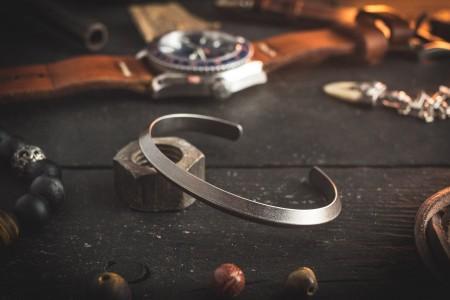 Lauchie - Antiqued Stainless Steel Cuff Bangle Men's Bracelet